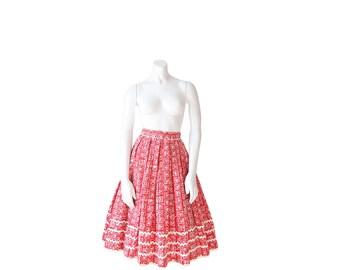1950s Skirt • 50s LANZ Skirt •Designer Novelty Print • XXS / XS