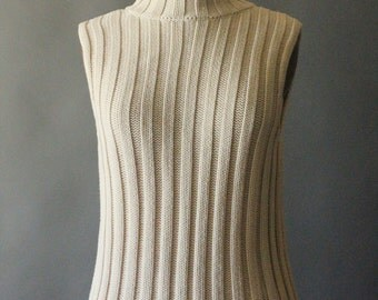 Vintage 90's Cream Cotton Knit Sweater Tank by Ann Taylor, size S