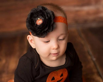 Halloween Headband, Baby Girl Headband, Newborn Headband, Newborn Photo Prop, Halloween Prop, Halloween Costume
