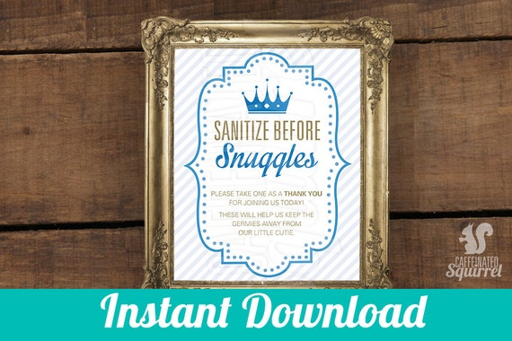 sanitize before snuggles sign perfect for baby showers