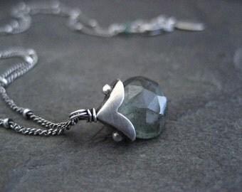 Moss aquamarine necklace, aquamarine pendant, sterling necklace, handmade pendant, gemstone necklace, handmade cap