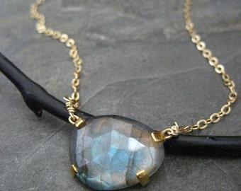 Labradorite necklace, rose cut stone, labradorite pendant, prong set pendant, gold filled, odd shape stone, genuine labradorite, handmade