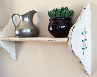 Display Plate Shelf Shabbily Distressed Aged White with Pink Tulips and Green Ivy