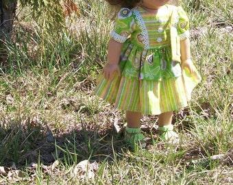 Summer shopping Dress Set - 3 pc.  Handmade set  for 18inch dolls OOAK