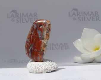 Larimar bead from Larimarandsilver, Sea of Lava 2 - red blue Larimar bead, burgundy blue, focal bead, marbled Larimar, red pebble, handmade