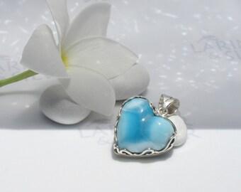 Larimarandsilver pendant, Armored Heart, powder blue Larimar heart, azure heart, cobalt blue, sky blue, fairy heart handmade Larimar pendant