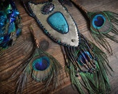 Bead Embroidered Turquoise and Peacock feather GOLD Statement necklace and feather earrings