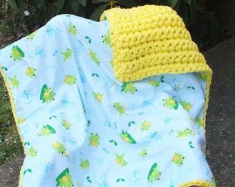 Frog baby boy crochet blanket baby girl flannel blanket unisex blanket yellow crochet flannel blanket gender neutral blanket