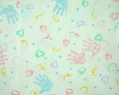 Baby Handprints Print, Quilting Cotton Fabric, Pastels, Pink Blue Yellow, Hearts on White, 43 x 35, B3