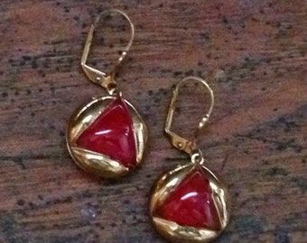 Mid Century Red Glass Moonglow Button Earrings