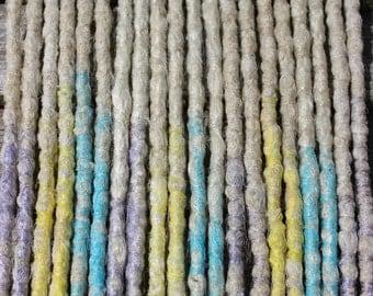 Springtime DE x10 Crochet Synthetic Dreads - blonde yellow blue lilac