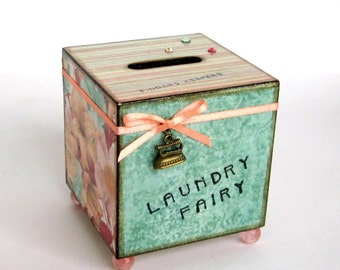 Coin Bank Laundry Room Decor Decoupaged Savings Laundry Fairy Spare Change Bank Peach Multicolor Floral Mothers Day Gift for Mom