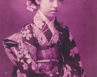 Beautiful Young Japanese Woman in Kimono, circa 1907