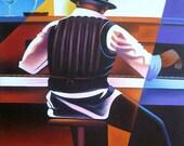 """Haitian Art,  Canvas Painting, Jazz Piano Player - Modern Art,  Caribbean Art, Canvas Art - 30"""" x 40"""" - 283"""