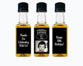 Custom Whiskey Mini Bottle Labels Adult Birthday Favors Guys Mens 21st 30th 40th 50th 60th Birthday Celebration Photo Whisky Gifts EB-1139