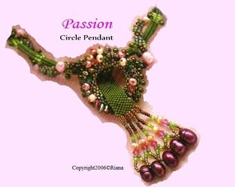 Peyote Stitch pdf pattern - Passion Circle Pendant Necklace Pattern