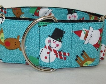 Santa and Friends Martingale Dog Collar - 1.5 or 2 Inch - snowman winter rudolph reindeer fun polka dot teal turquoise