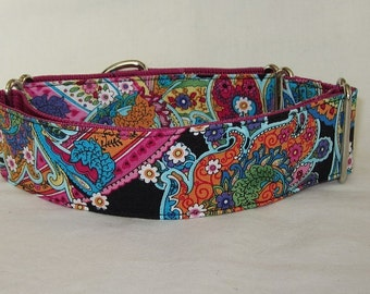 Electric Paisley Martingale Dog Collar - 1.5 or 2 Inch - pink blue fun colorful orange flowers