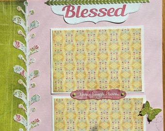 Blessed Scrapbook Page, Premade Baby Girl Scrapbook Page, Girl Scrapbook Page Layout, 12 x 12 Album Pages, Premade Album Page