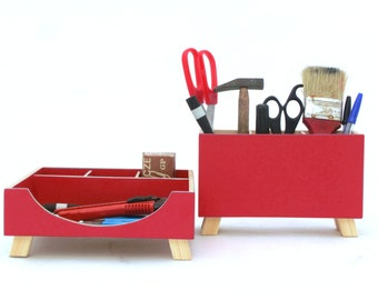 FREE SHIPPING - Desktop Organizer, Desk Organizer, Red Desktop Set, Wooden Desk set, Office Accessories, Desk Organizer, Red Boxes