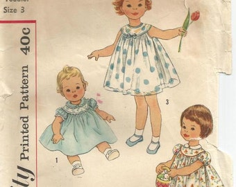 1950s Toddler Girl's Tent Dress Short Puff Sleeves or Sleeveless Simplicity 2947 Girl's Size 3 Chest 22 Girl's Vintage Sewing Pattern