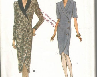 1990s Coat Dress Asymmetrical Closing Long or Short Sleeves Easy to Sew Vogue 8715 Size 14 16 18 Uncut FF Women's Vintage Sewing Pattern