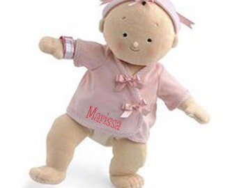 "PERSONALIZED Rosy Cheeks Soft Brunette Girl Baby Doll 15"" Tall 2855"