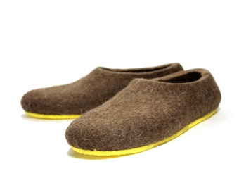 Wool Slippers, Felt Shoes Eco Brown, Unisex Wool Clogs, Mix and Match, Minimalist Shoes, Boilded Wool, Unisex Slippers, Christmas Gifts