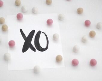 XO print / xo black watercolour letters / print for nursery / print for kids room / nursery decor / hugs and kisses / Size 8x10