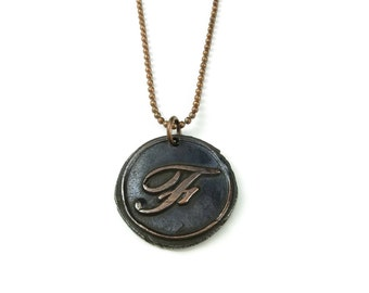 Letter F Necklace | Wax Seal Initial Pendant Necklace in Copper | Double-Sided Letters | Handcrafted Personalized Monogram Jewelry