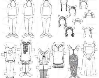 Color Your Own Paper Dolls -- Hand drawn paper dolls