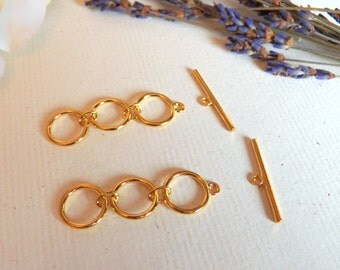 SALE - Vintage Style, Gold Plated Toggle Clasp, Jewelry Findings, Gold Jewelry, Gold Plated Metal, Jewelry Supplies for Necklaces, Bracelets