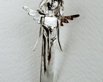 Up Cycled Sterling And PMC Angel Pendant - Angel Rylee Is Growing - Strength - Empowerment - Echo Friendly - Art Jewelry Pendant - 1669