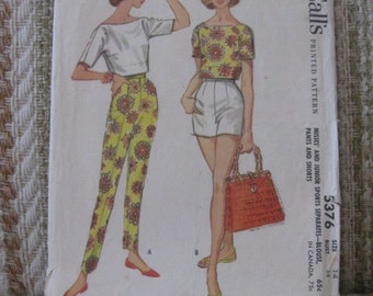 McMall's Size 14 Misses' and Junior Sports Separates - Blouse, Pants and Shorts Pattern 5376