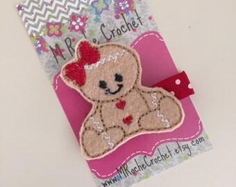 Gingerbread man hair clip, Christmas hair clip, holiday clippie, toddler hair clip, hair accessory, hair clippies, baby barrettes