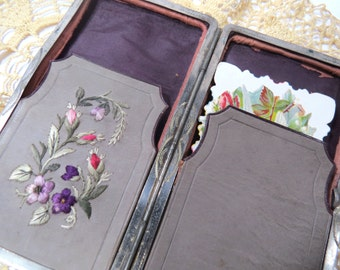 Antique Leather Calling Card Case with Floral Silk Embroidery, Etched Metal Design & 2 Carte de Viste Photos