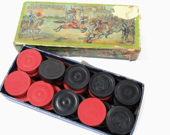 Antique Embossing Co. Tournament Checkers, 1910, Original Box, Complete, Jousting Knights Cover Graphics
