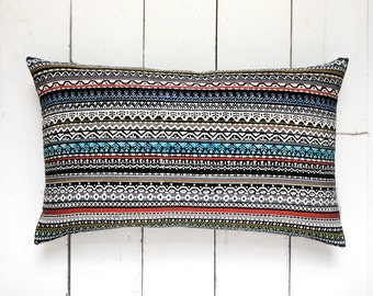 "NEW! Autumn Collection: Geometric Patterned Striped Vintage Kimono Fabric Lumbar Pillow Cushion 'Nordic' (12"" x 19"")"