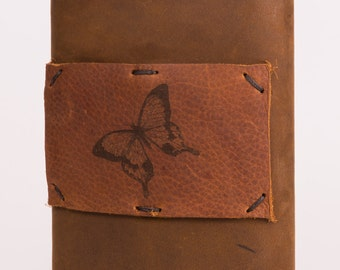 Leather + Stainless Steel 8 oz Flask with Butterfly Design (F8-42)