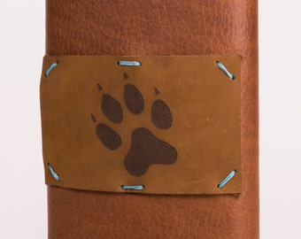 Leather + Stainless Steel 8 oz Flask with Dog Paw Design (F8-53)