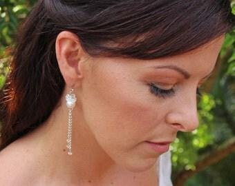 Bridal pearl earings, pearl wedding jewlery, pearl chandelier earrings,long wedding earings,pearl bridal jewelry,bridesmaid earings. MELINDA