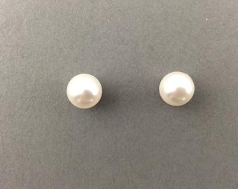 Pearl Earrings Bridal Jewelry Sterling Silver With 8mm White Swarovski Pearl Stud Earrings