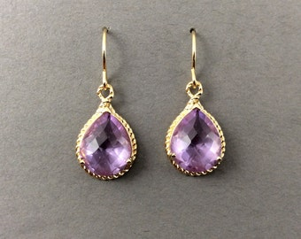 Gold Earrings With Light Amethyst Faceted Glass