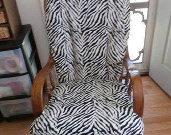 Nursery Glider Rocker SlipCover -Zebra Print Fabric  Covers for your cushions