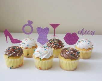 """Glitter """"Bachelorette Party/Girl's Night Out"""" Cupcake Topper Set of 6"""