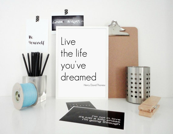 Typography Print  Poster Live the Life You've Dreamed  - Motivational Poster - Henry David Thoreau Quote Print - Inspirational Wall Art