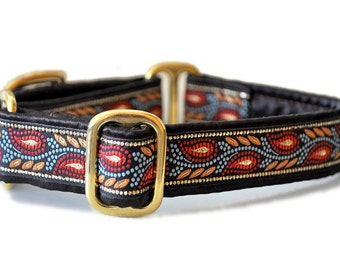 Paisley Mosaic Vines Jacquard Martingale Collar - 1 Inch