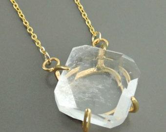 Quartz Necklace - Gold Necklace - Quartz Crystal Necklace - Gemstone Necklace - Statement Necklace - handmade jewelry