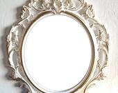 SALE Large White Gold Wall Mirror/ Ornate Mirrors/ Baroque Mirror/ Shabby Chic Mirror/Hollywood Regency Mirror Bathroom Bedroom Nursery