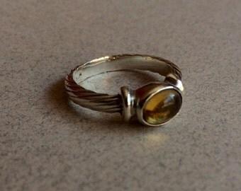 Vintage Cabochon Citrine Stering Silver Ring Bezel set Twist Design